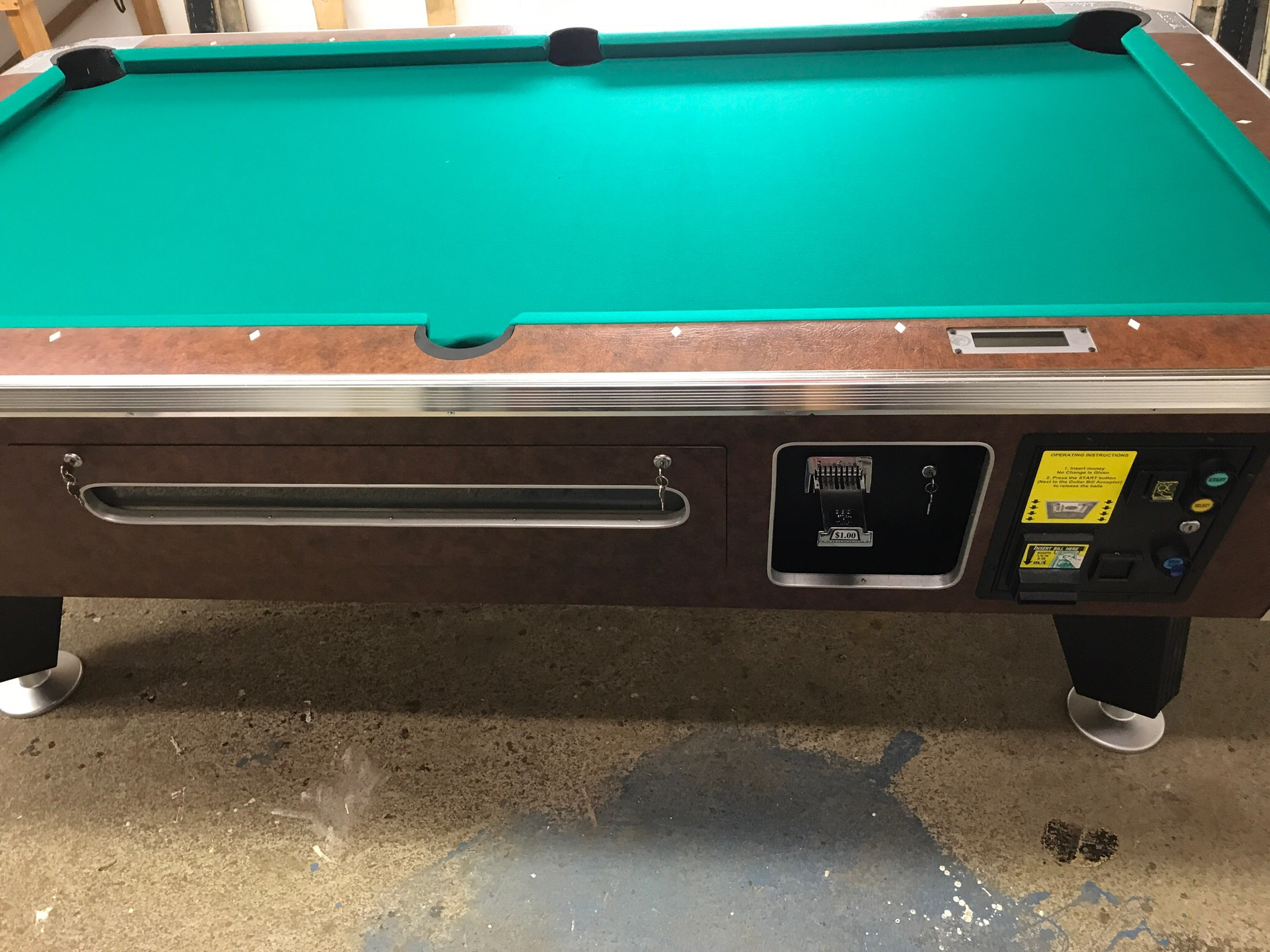 Table 080217 Valley Coin Operated Pool Table Used Coin