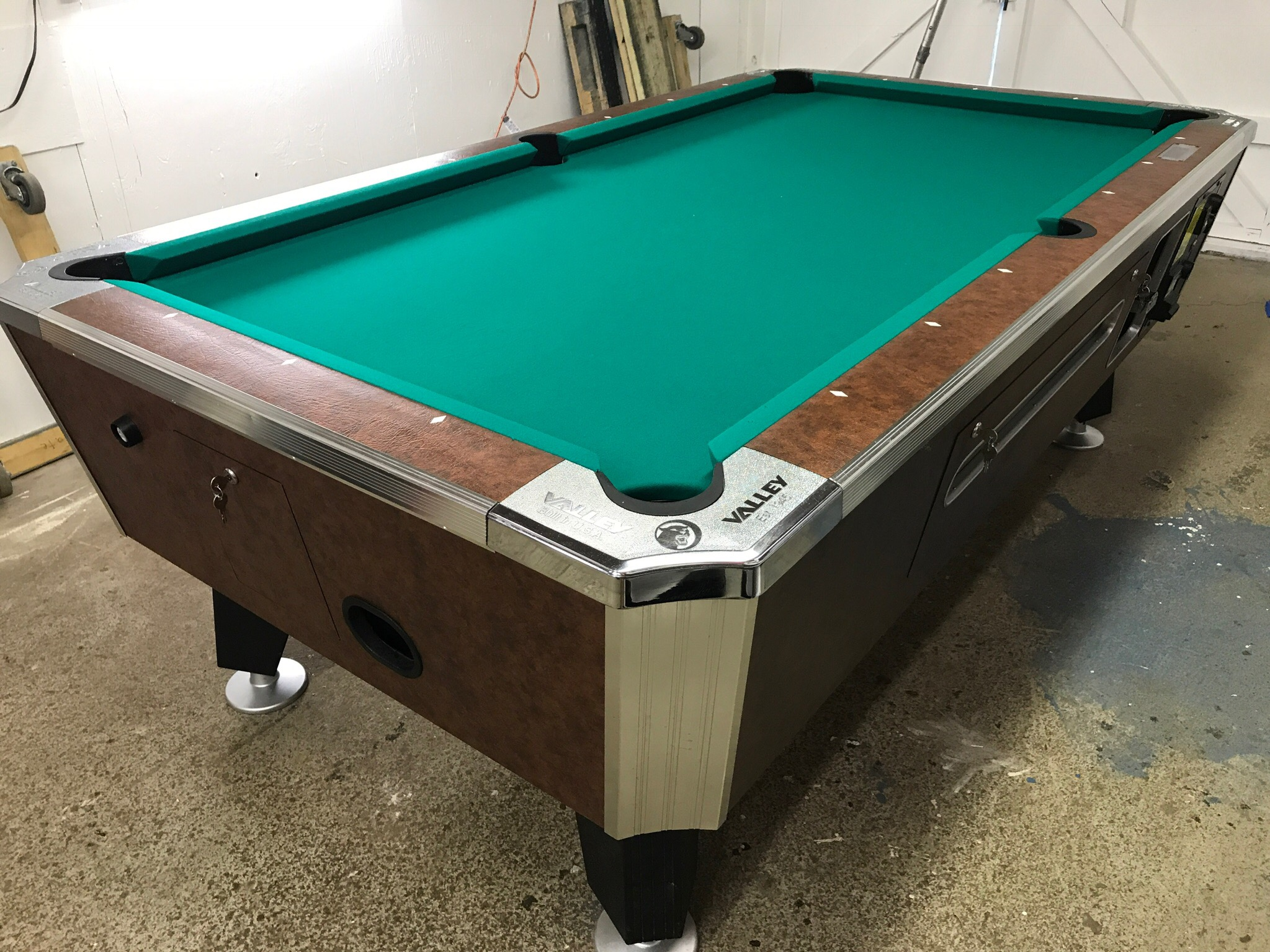 Table #080217 Valley coin operated pool table   Used Coin ...